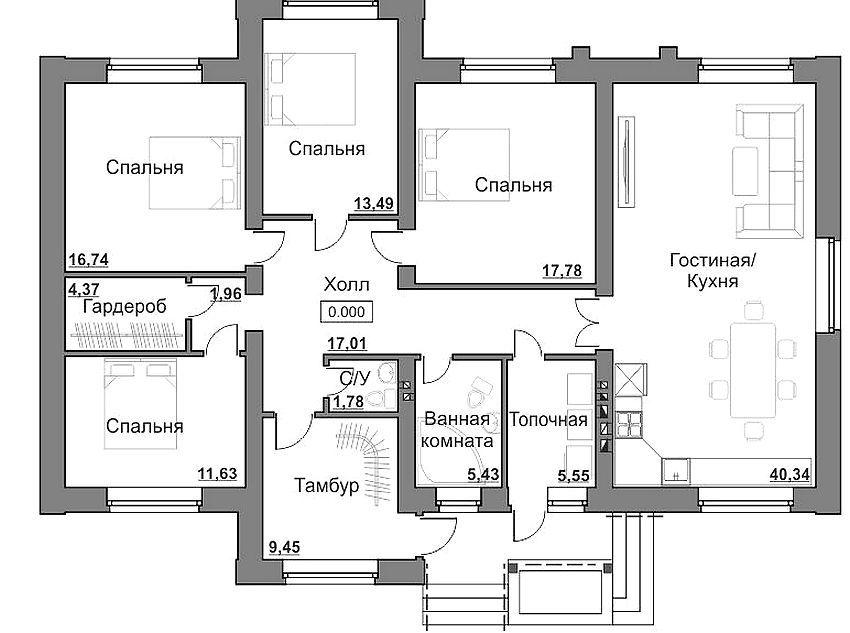 планировка одноэтажного дома с 4 спальнями