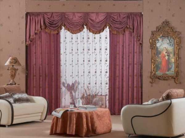 Тройные шторы для гостиной и спальни, фото многослойных штор