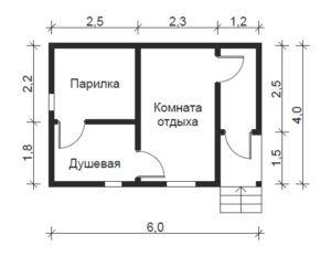 Планировка бани 6х4 - идеи, материал, этажность