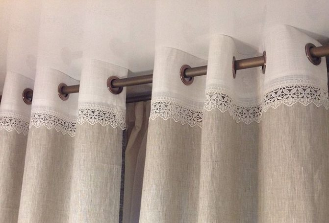 Льняные шторы: для кухни, в интерьере, с кружевом, плотные (30 фото)