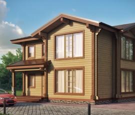 дома из бруса с панорамными окнами