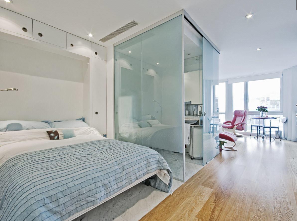 Планировка для квартиры-студии (59 фото): варианты для площади 12 и 18 кв. м., обстановка квартир по 24 и 26 «квадратов», дизайн двухкомнатных от 27 до 45 метров