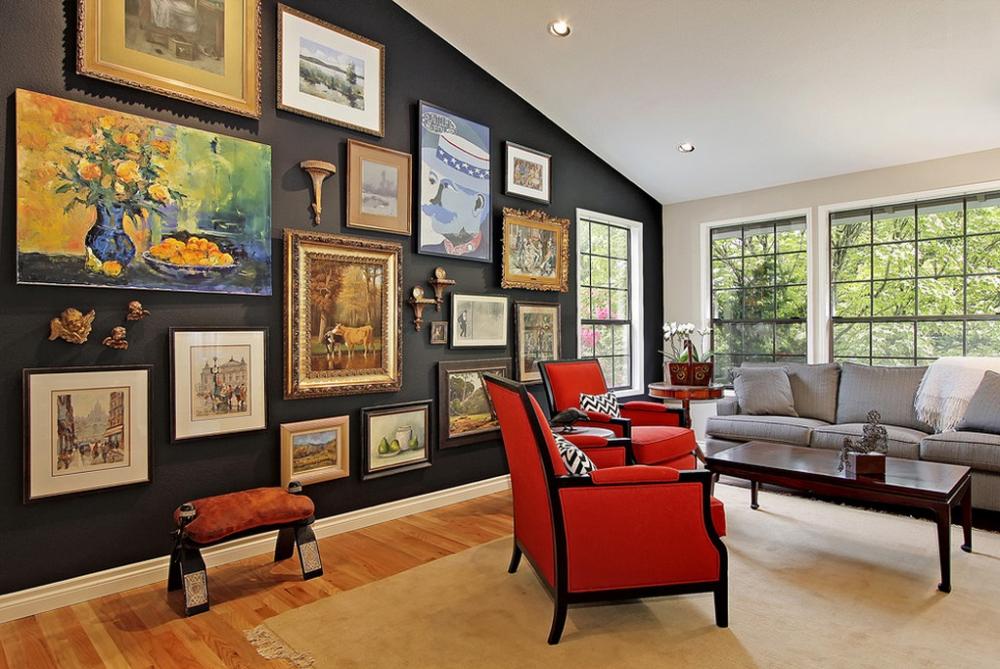 Оформление стены над диваном: лучшие дизайнерские идеи на 75 фото