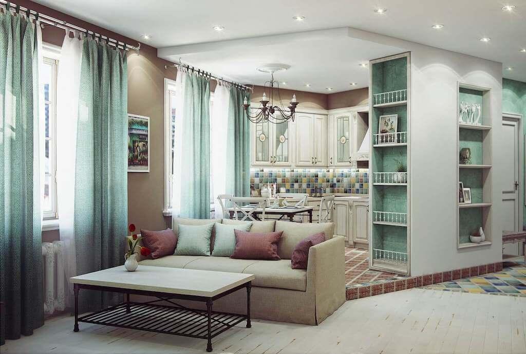 шторы в гостиную совмещенную с кухней