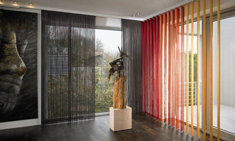 Нитяные шторы для современного интерьера - фото примеров