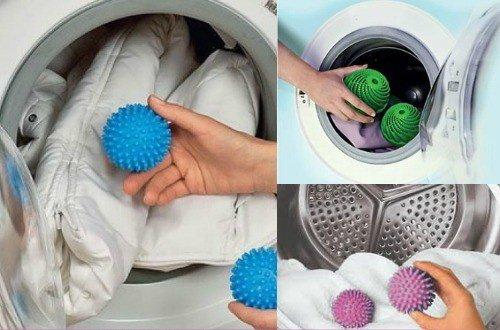 Стирка пуховика в стиральной машине с теннисными мячиками