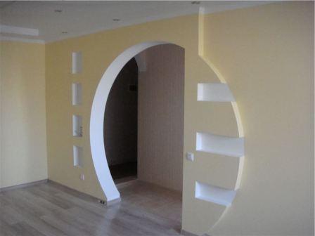 Применение гипсокартона для изготовления арок