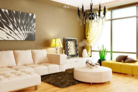 Гостиная с угловым диваном фото