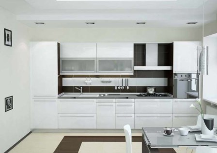 Дизайн белой глянцевой кухни фото
