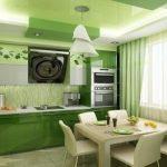 Дизайн кухни зеленого, белого цвета 8 и 9 квадратов: фото и советы