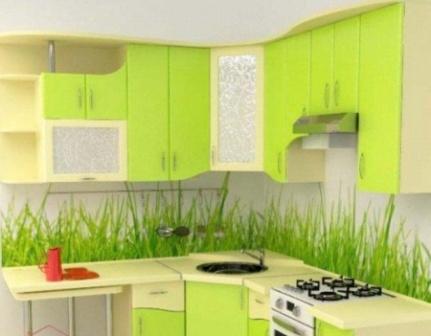 Дизайн кухни зеленого цвета интерьер
