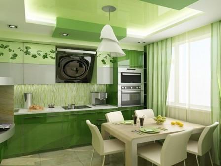 Дизайн кухни зеленого цвета