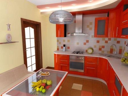 Дизайн оранжевого цвета на кухне