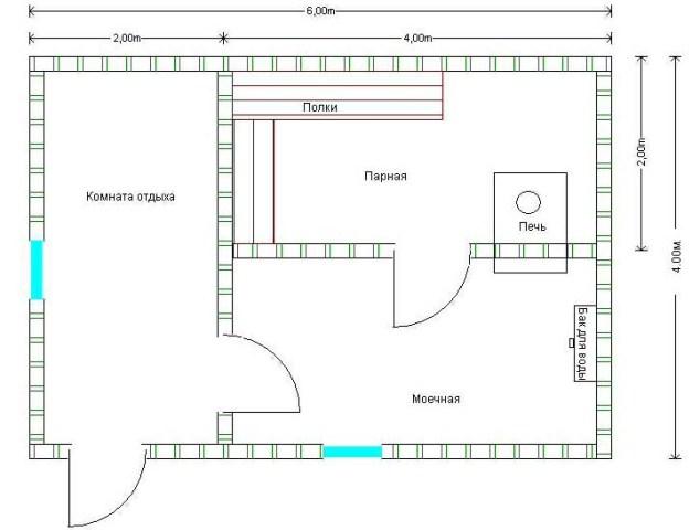 Баня 6х4 планировка