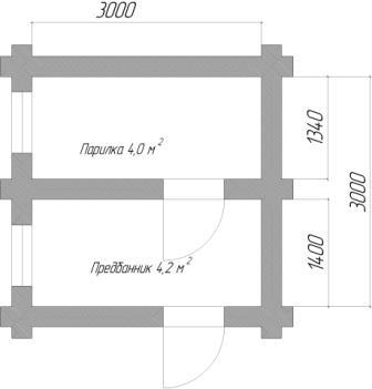 планировка бани 3х3