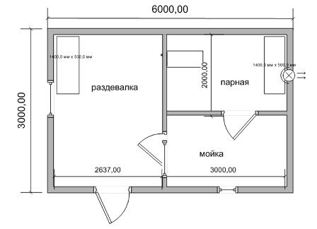 планировка бани 3х6