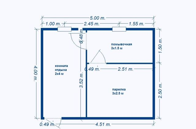 планировка бани 5х4