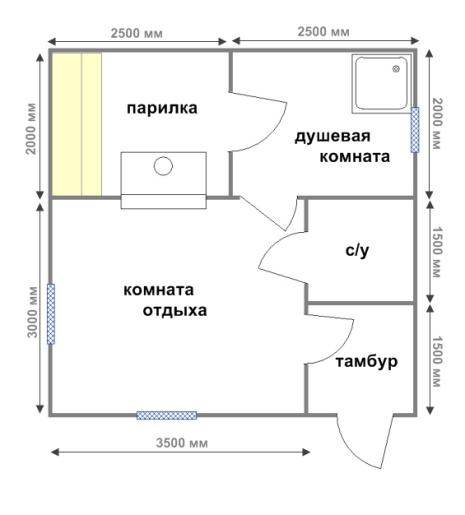 планировка бани 5х5