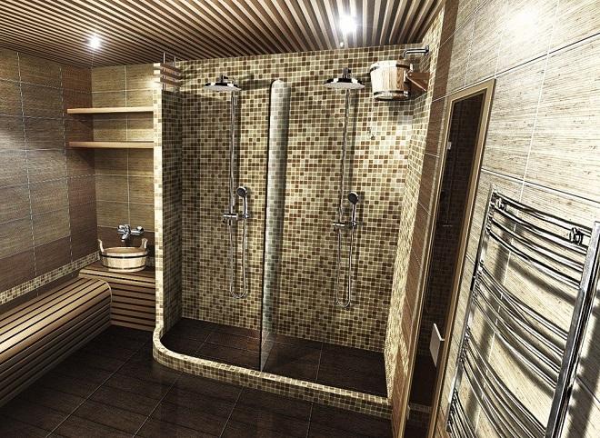 Интерьер помывочной в бане. Особенности отделки
