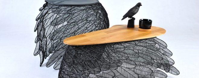 Столы из перьев от тайского дизайнера Apiwat Chitapanya