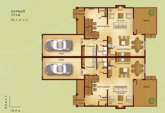 Дом на 2 хозяина с разными входами с зеркальной планировкой