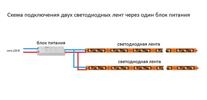 Схемы подключения двух лент к одному блоку питания
