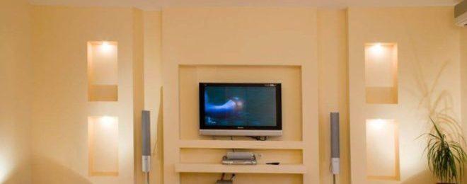 Ниша под телевизор из гипсокартона