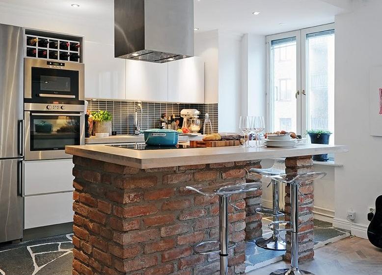 Барная стойка для кухни из кирпича