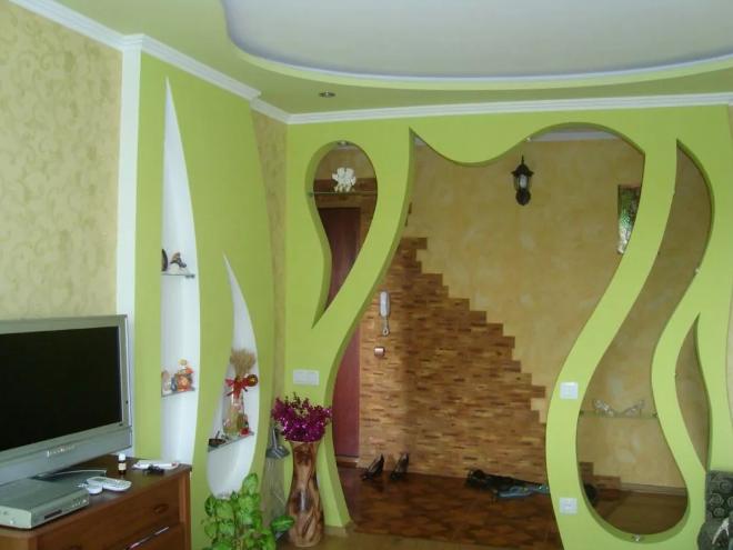 Гипсокартонные перегородки в комнате