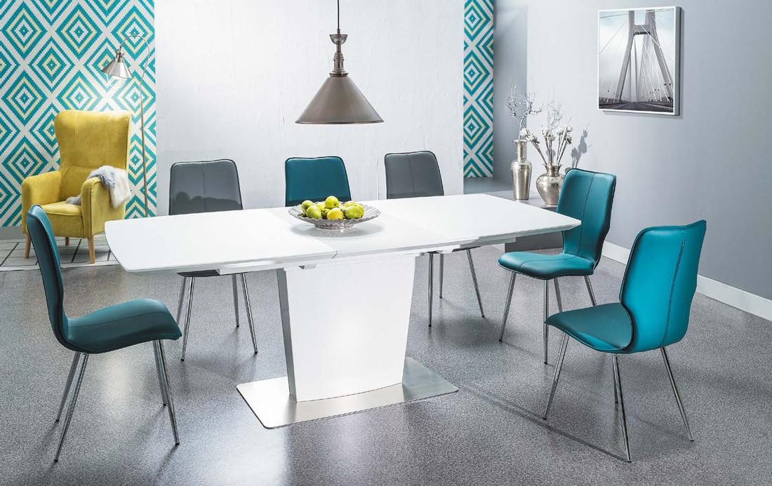 Белый стеклянный стол для кухни