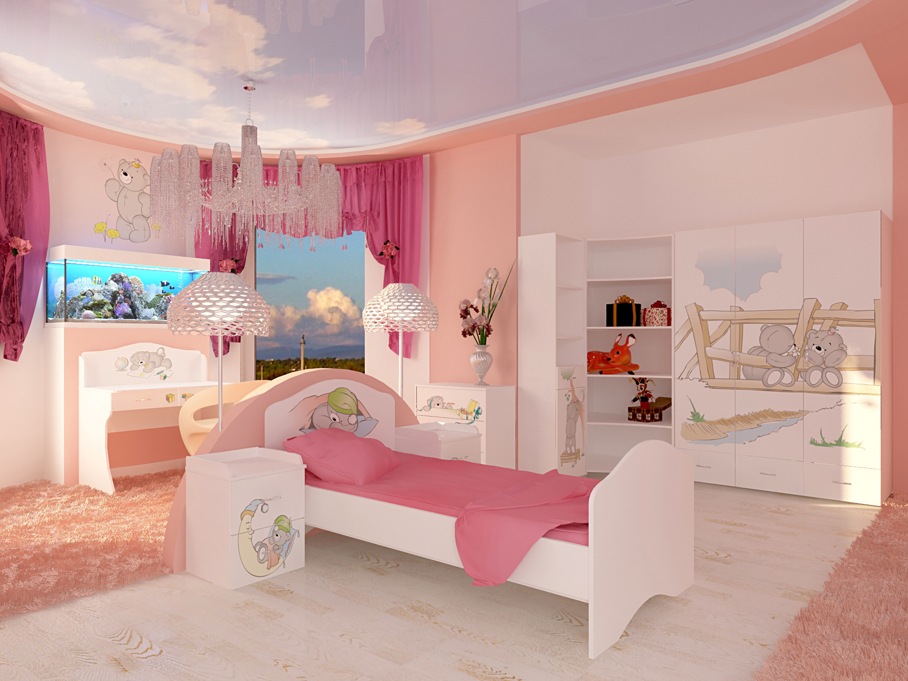 Натяжной потолок в детскую для девочки