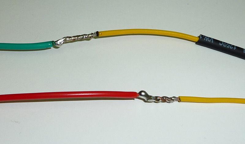 Соединение кабелей проводки пайкой