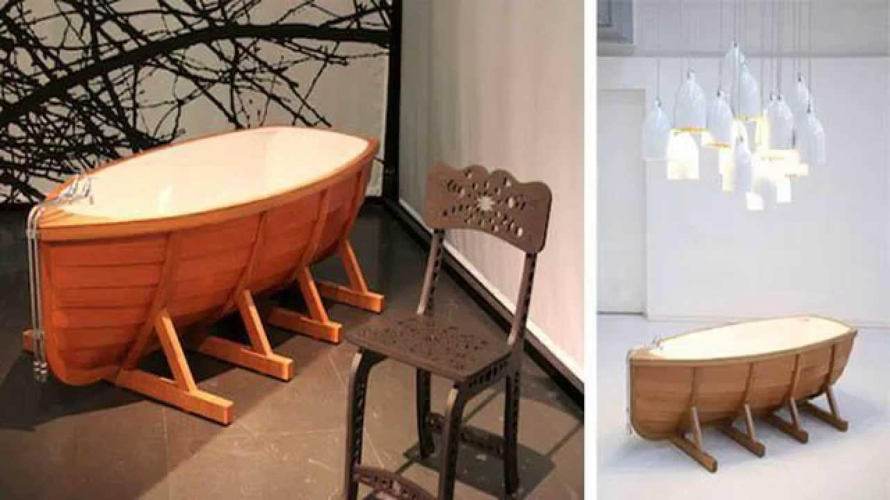 Ванна из дерева в форме лодки