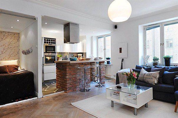 объединения кухни с гостиной