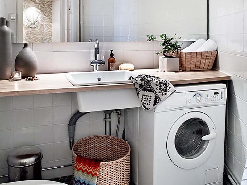 плоская раковина над стиральной машиной