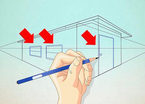 как нарисовать двухэтажный дом
