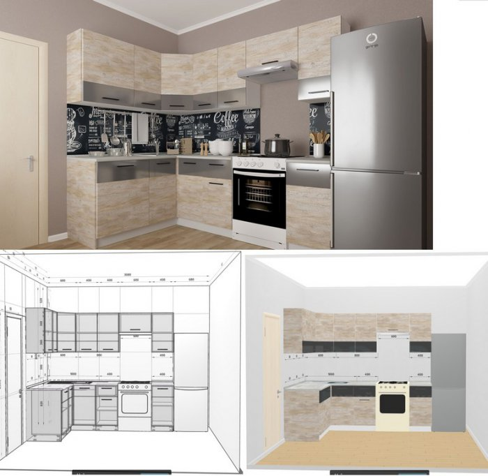 план кухни с размерами и мебелью