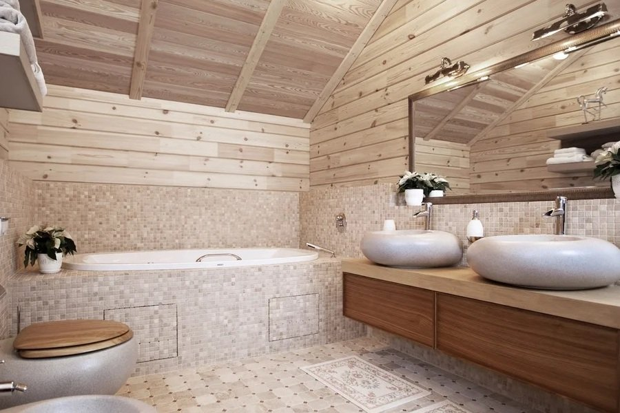 красивые ванные комнаты в загородных домах