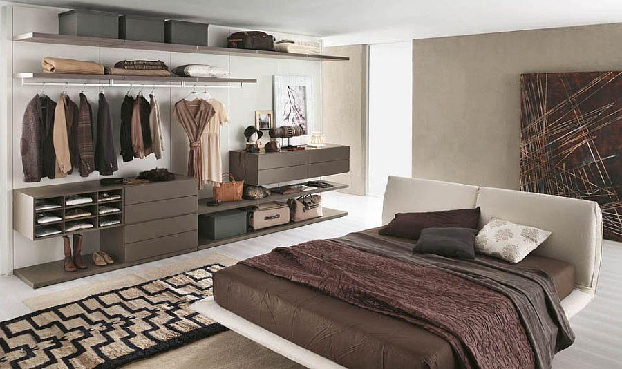стеклянная гардеробная в спальне