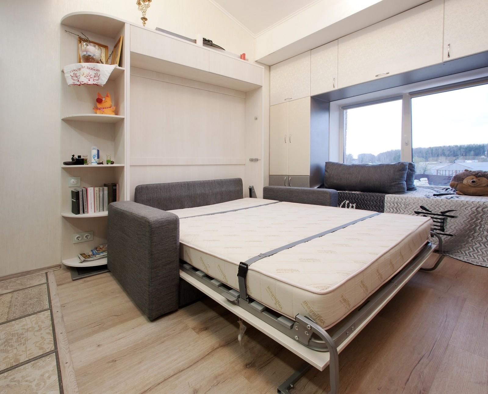 кровать трансформер для малогабаритной квартиры двуспальная