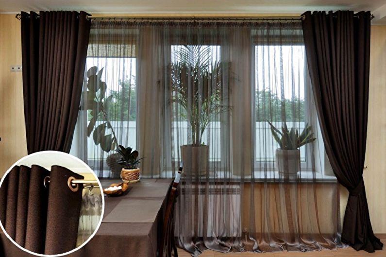 шторы для коричневой кухни фото