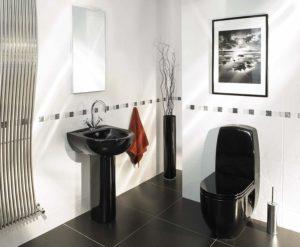 Черно-белая ванная комната: выбор отделки, сантехники, мебели, оформление туалета