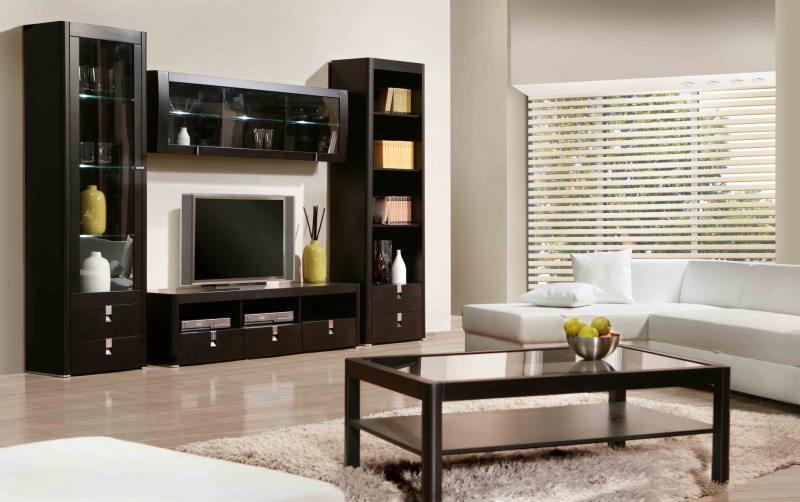 Современные стенки в гостиную (модульная, прямая, угловая, со шкафом) + 370 фото