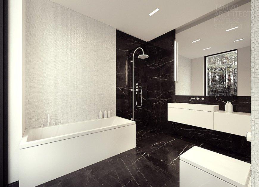 Черно-белая ванная комната: полосатые, шахматные и другие идеи