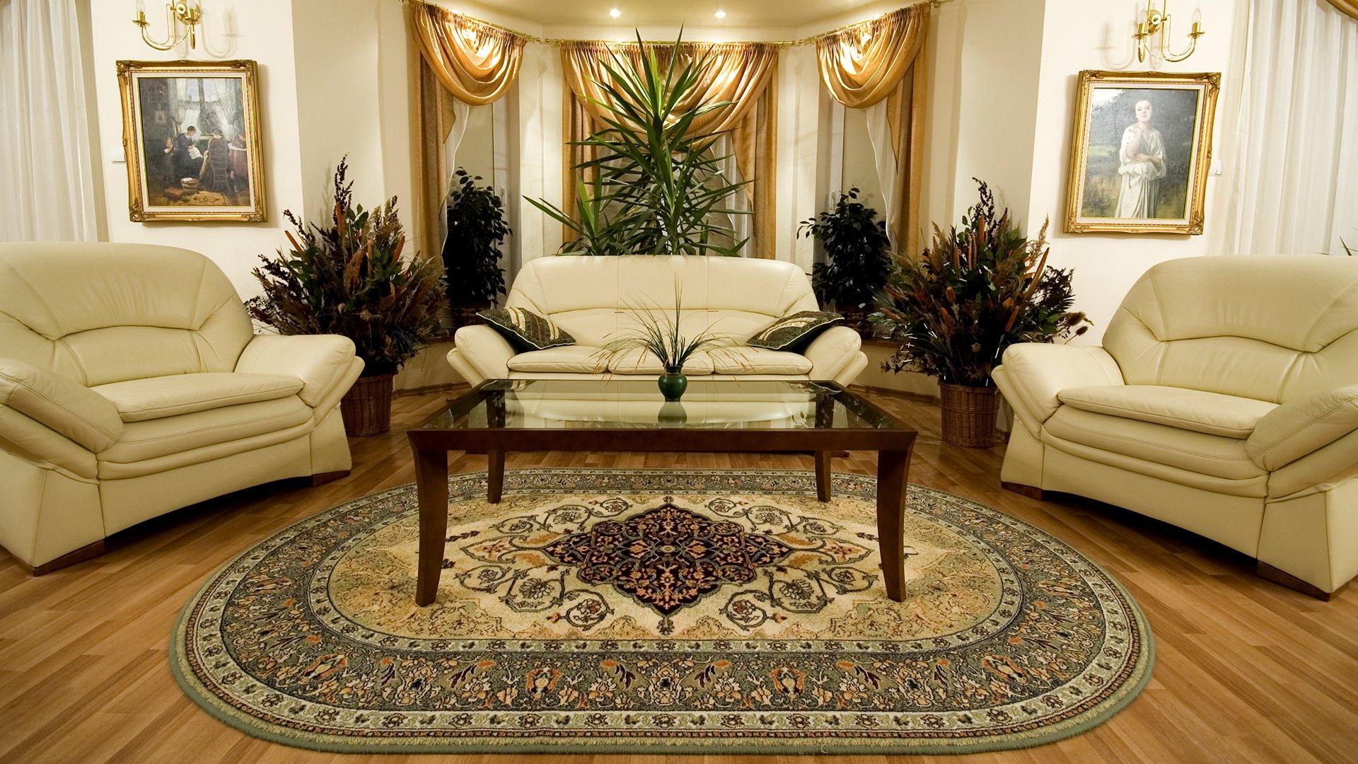 Украшение зала с помощью ковра на полу: фото и 6 видов паласов