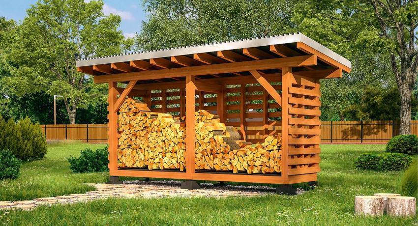 Поленница для дров своими руками: фото и инструкция