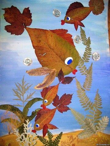 аппликация из кленовых листьев для детей