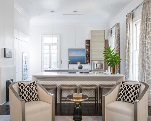 Шторы в кухню-гостиную: современные занавески в совмещенную столовую