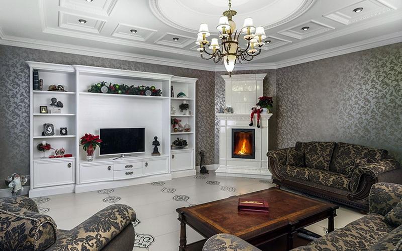 отделка гостиной в частном доме
