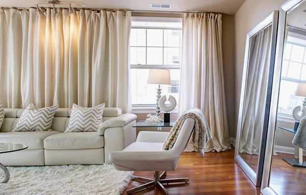 Оригинальные шторы (42 фото): модели на одну сторону, необычные и асимметричные шторы на окна в гостиной и спальне